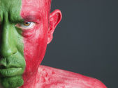 Man with his face painted with the flag of Portugal — Stock Photo