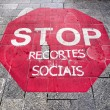 Stop sign on the ground - Stock Photo