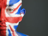Man face painted flag of United Kingdom 5 — Stock Photo