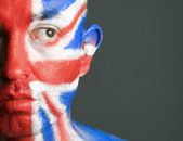 Man face painted flag of United Kingdom 4 — Stock Photo