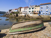 Fishing village, there is a boat in the foreground — Stock Photo