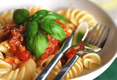 Fusilli with tomato sauce — Stock Photo
