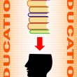Black silhouette of head with books — Stock Vector
