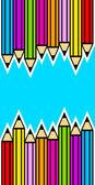 Fond avec des crayons de couleur — Vecteur