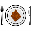 Chocolate on porcelain plate — Stock Vector
