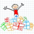 Child with presents — Vector de stock