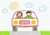 Disegno di macchina rossa — Vettoriale Stock