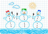 Drawing of three snowmen — 图库矢量图片