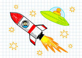 Two spacecrafts — Stock Vector