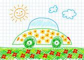 生態学的な車の図面 — ストックベクタ