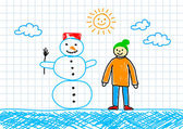Snowman with boy — Stock Vector