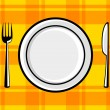 Plate and cutlery on orange cloth — Stock Vector