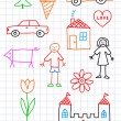 Royalty-Free Stock Vector Image: Colorful drawings on squared paper