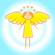 Stock Vector: Gold angel