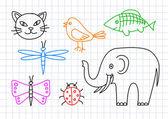 Teckningar av djur på kvadraten papper — Stockvektor