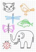 Dibujos de animales en papel — Vector de stock