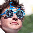 Man wearing blue sunglasses. — Stock Photo