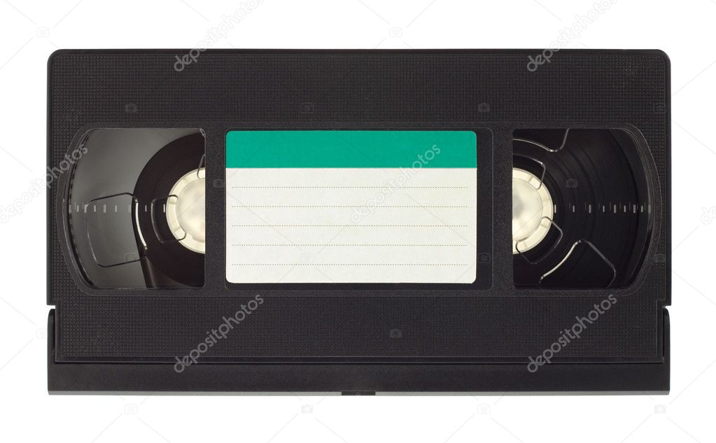 Old video cassette with empty label isolated on white background — Stock Photo #10850964
