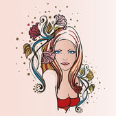 Young woman portrait — Stock Vector