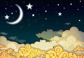 Cielo di notte stile cartone animato — Vettoriale Stock