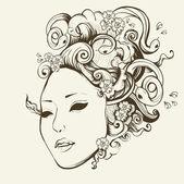 Medusa Gorgon portrait with snake hair — Stock Vector
