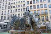 Fontaine Bartholdi (circa 1892) on the Terreaux squire in Lyon — Stock Photo