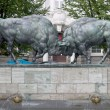 "Sculpture ""Fighting aurochs"", Kaliningrad, Russia - Stock Photo"