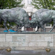 "Stock Photo: Sculpture ""Fighting aurochs"", Kaliningrad, Russia"