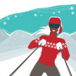 Glamour girl skiing, winter season sports vector illustration. — Stock Vector #10781347