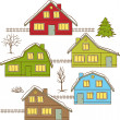 Hand drawing winter houses isolated. Vector illustration. — Stock Vector