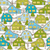 Seamless Christnas pattern with houses and trees in winter. — Stock Vector
