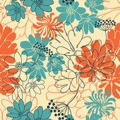 ベクトルの背景に描かれた花を手します。(シームレス パターン) — ストックベクタ