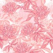 Royalty-Free Stock Vektorgrafik: Vector pattern with peony and foliage. Hand drawn illustration.