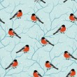 Winter seamless pattern. Birds on a tree in Christmas. - Stok Vektör