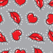 Vector seamless background. lips  and hearts print. — Stockvectorbeeld