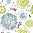 Vector background with hand drawn flowers. (Seamless Pattern) — Stock Vector