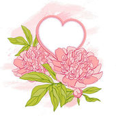 Card with peony on grunge background. Vector illustration. — Stock vektor