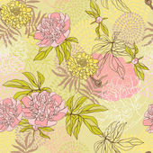 Vektor seamless mönster med blommor. hand dras illustration. — Stockvektor