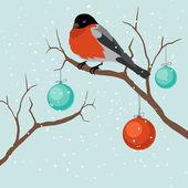 Bird on tree in Christmas. A vector illustration — Stock Vector
