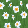 Seamless Flowers Pattern. Vector illustration of yellow daffodil