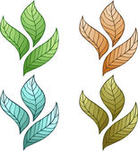 Design of vector leaves. No gradient. Vector. — Cтоковый вектор