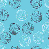 Seamless hand drawn texture of shells. Vector Illustration. — Stock Vector
