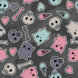 Vector de stock : Skulls, and hearts on black background - seamless pattern.