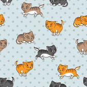 Seamless pattern with funny cats. Vector illustration. — Stock Vector