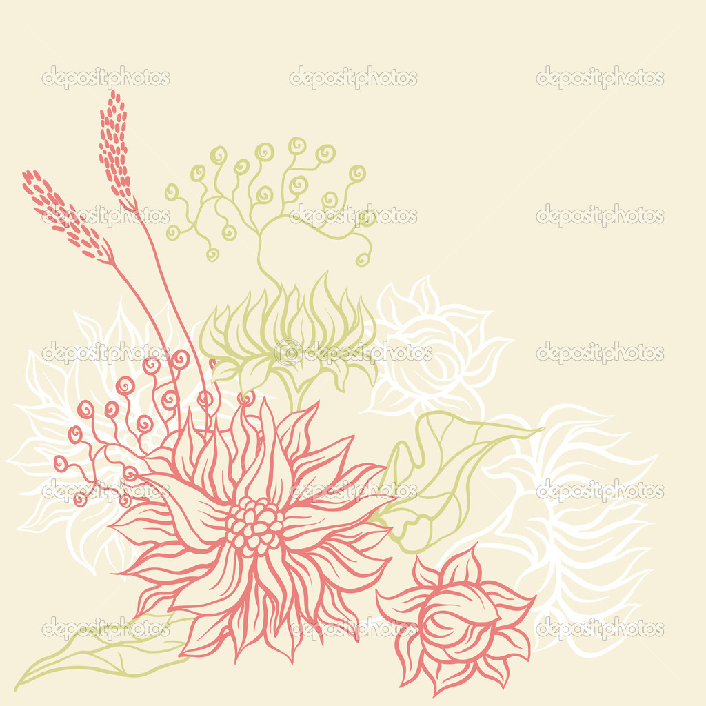 Vintage card with flowers. Vector background for you design. — Stock Vector #11075900