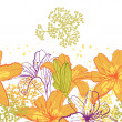 Beautiful seamless pattern with lilies, vector illustration. — 图库矢量图片