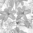 ストックベクタ: Beautiful seamless pattern with lilies, vector illustration.
