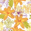 Beautiful seamless pattern with lilies, vector illustration. — Stock Vector