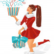 The girl is holding a gift. Vector illustration. — Stock Vector