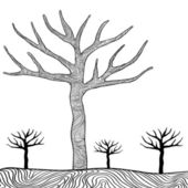 Black trees isolated on white background vector. — Stock Vector